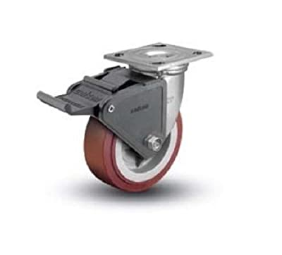 "Colson Swivel Plate Caster with Non-Marking Polyurethane 5"" x 2"" Wheel and Brake"