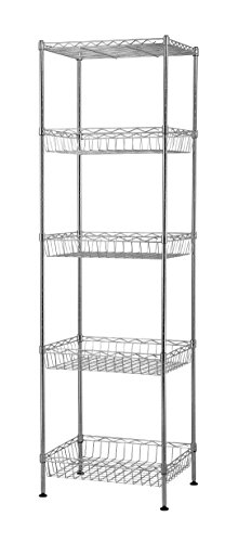 (Muscle Rack WB181460 5-Tier Wire Shelving Unit with Baskets, 60