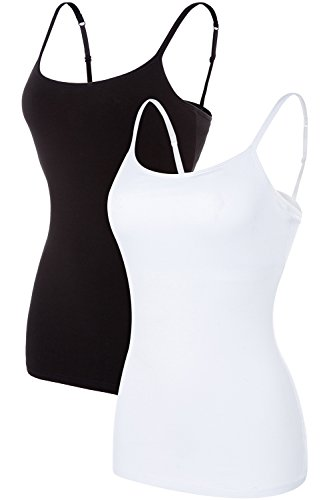ATTRACO ladies cotton soft camisole solid tank tops packs white black x-large