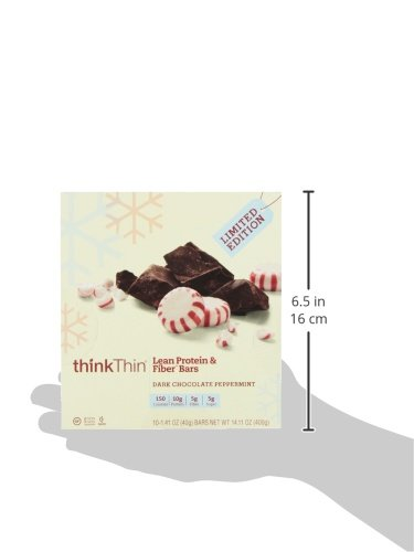ThinkThin Protein and Fiber Bars, Dark Chocolate Peppermint, 1.41 oz (pack of 10)