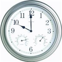 AcuRite 00920 14-Inch Pewter Indoor/Outdoor Wall Clock with Thermometer and Hygrometer Chaney Hygrometer