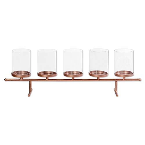 Koyal Wholesale 5 Tea Light Candle Holder Centerpiece Stand, Floating Candle Vase Stand for Wedding Party, Christmas, Fall Floral Decorations, Thanksgiving, Dining Room Table Home Decor (Copper)