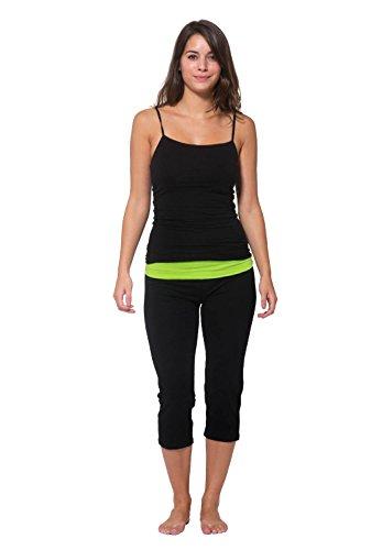 Nouveau Women's Workout Active Capri Yoga Pant with Contrasting Color Waistband Casual Loungewear