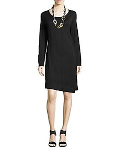 Eileen Fisher Merino Jersey Jewel Neck A Line Dress Black (Petite (Merino Jewel Neck)