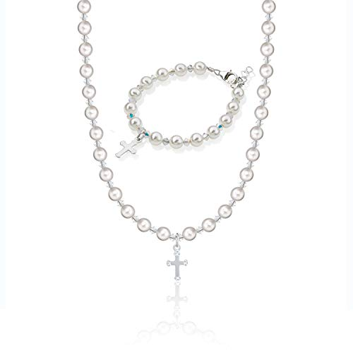 Christening Sterling Silver Engraved Cross Charm Keepsake Girl Bracelet and Necklace Gift Set with White Swarovski Simulated Pearls and Clear Crystals (GSNBCRSE_S+)