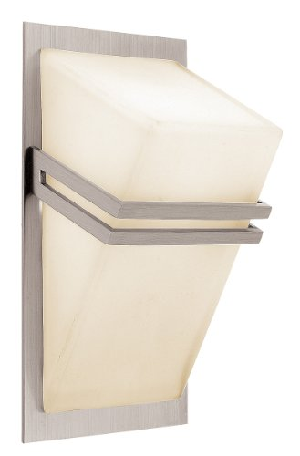 Access Lighting 62106-BS/OPL Titan 1-Light ADA Wall/Vanity Fixture, Brushed Steel Finish with Opal Glass Shade (Steel Sconce Halogen)