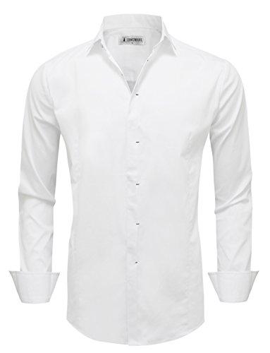 Tam Articles Mens À Manches Longues Classique Blanc Chemise Plaine