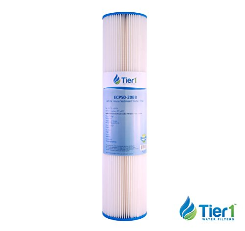Tier1 Pentek ECP50-20BB Comparable 50 Micron 20 x 4.5 Pleated Cellulose Sediment Water Filter