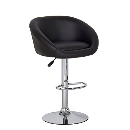 Joveco Black Adjustable Barstool Chair with Wrap Around Back, Leatherette, Chrome Finish and Pedestal Base - Set of 2