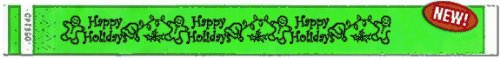"Gingerbread Men - 3/4"" Tyvek Holiday Wristbands (Lime)"