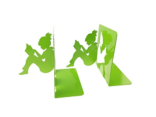 - 3D Paper-cut Little Girl Is Reading Patten Metal Bookends Book Ends For Kids Teenagers Teachers Students Adults Study Home School Library Office Decoration Birthday Christmas Gift (Green)