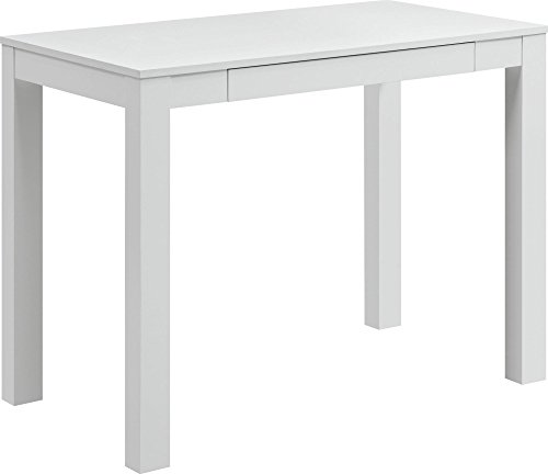 Amazon.com: Ameriwood Home Parsons Desk With Drawer, White: Kitchen U0026 Dining