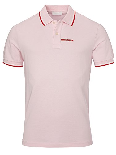 Prada Men's Cotton Piqué Short Sleeve Slim Fit Polo Shirt, Pink SJJ887 - White Polo Prada