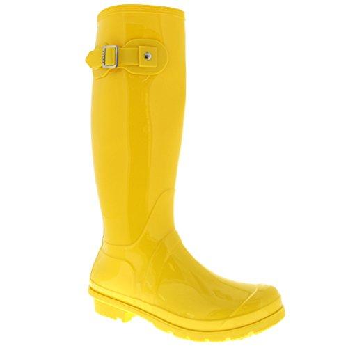 Taille Wellington Boot Originale Boucle Promener Imperméable Le Side Jaune Brillant Pluie Neige Chien Femmes vPdwxd