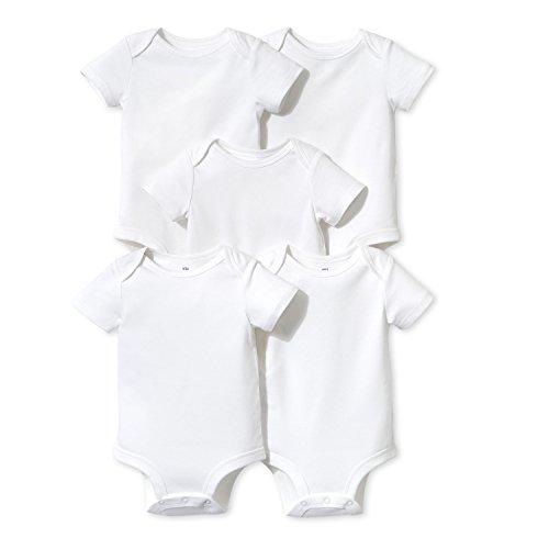 Lamaze Baby Organic Essentials 5 Pack Shortsleeve Bodysuits, White, 9M