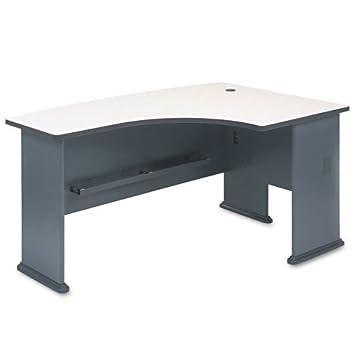 bush furniture series a right corner l shape bow front wood desk in slate amazoncom bush furniture bow
