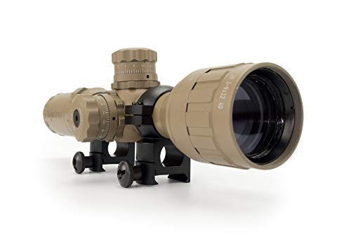Monstrum Tactical 3-9x32 AO Rifle Scope with Illuminated Range Finder Reticle and High Profile Scope Rings (Flat Dark Earth/Black Rings)