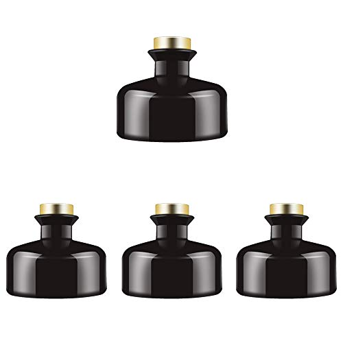 Feel Fragrance  Black Glass Diffuser Bottles Diffuser Jars with Gold Caps Set of 4 - 2.75 inches High, 150ml 5.1 Ounce. Fragrance Accessories Use for DIY Replacement Reed Diffuser Sets.