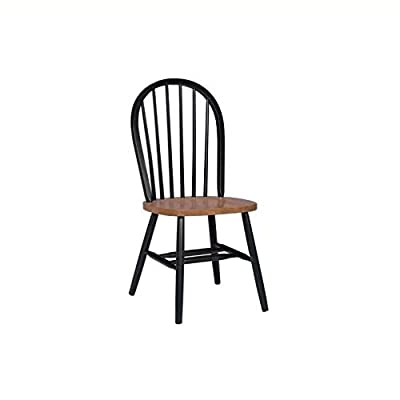 International Concepts 37-Inch High Spindle Back Chair, Black/Cherry - No assembly required Plain seat Rated for residential use only, not intended for commercial use - kitchen-dining-room-furniture, kitchen-dining-room, kitchen-dining-room-chairs - 31UwQXcuzgL. SS400  -
