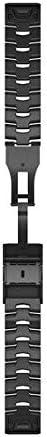 Garmin QuickFit 22 Watch Bands - Vented Titanium Bracelet with Carbon Grey Dlc Coating