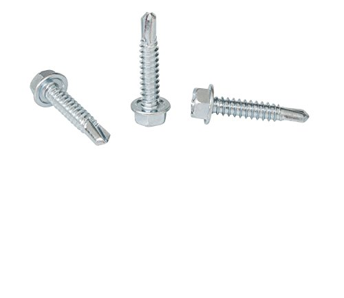 1/4''-14 x 1-1/4'' Hex Washer Head Self-Drilling Tek Screw Zinc Plated Steel for Attaches Sheet Metal Steel or Steel to Metal - Box of 50 by Strong-Point