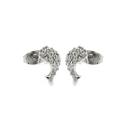 (Clear Cubic Zirconia Fish Stud Earrings Rhodium Plated Sterling Silver)