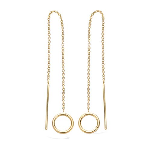 Agvana Yellow Gold Filled Bar&Hoop Threader Earrings Minimalist Long Chain Dangle Earrings Ideal Gifts For Women, Threader earrings length: ()
