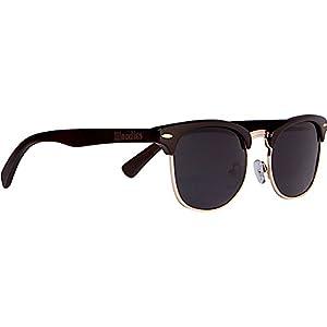 WOODIES Ebony Wood Clubmaster Sunglasses with Black Polarized Lenses