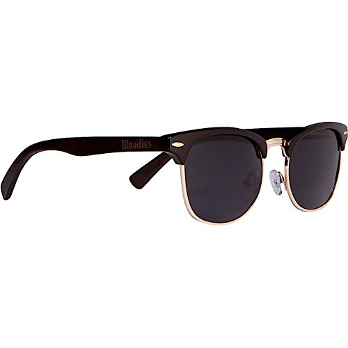 WOODIES Ebony Wood Clubmaster Sunglasses with Black Polarized - Folding Clubmaster Sunglasses