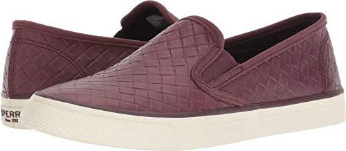 Sperry Women's Seaside Emboss Weave Sneaker, Wine, 6.5 M US