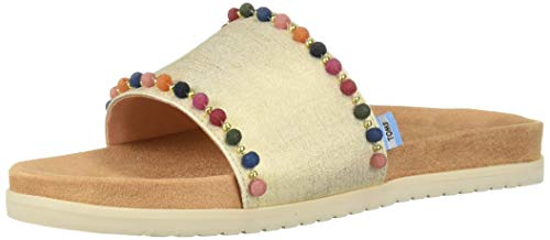 TOMS Women's Paradise Slide Sandal Gold Shimmer Canvas poms, 8 B Medium ()