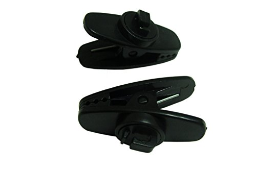 Price comparison product image Set of 2 Black Shirt Clips for Headphone, Earphone and Headset Cable and Wire; Headphones Clothing Clip
