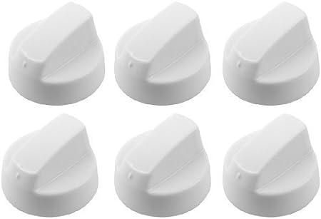 First4spares - Set de 6 mandos de control universales de repuesto para hornos y fuegos, color blanco