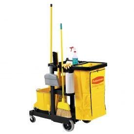(Janitor Cart, Black, 1 Shelf, 38-3/8 In. H)