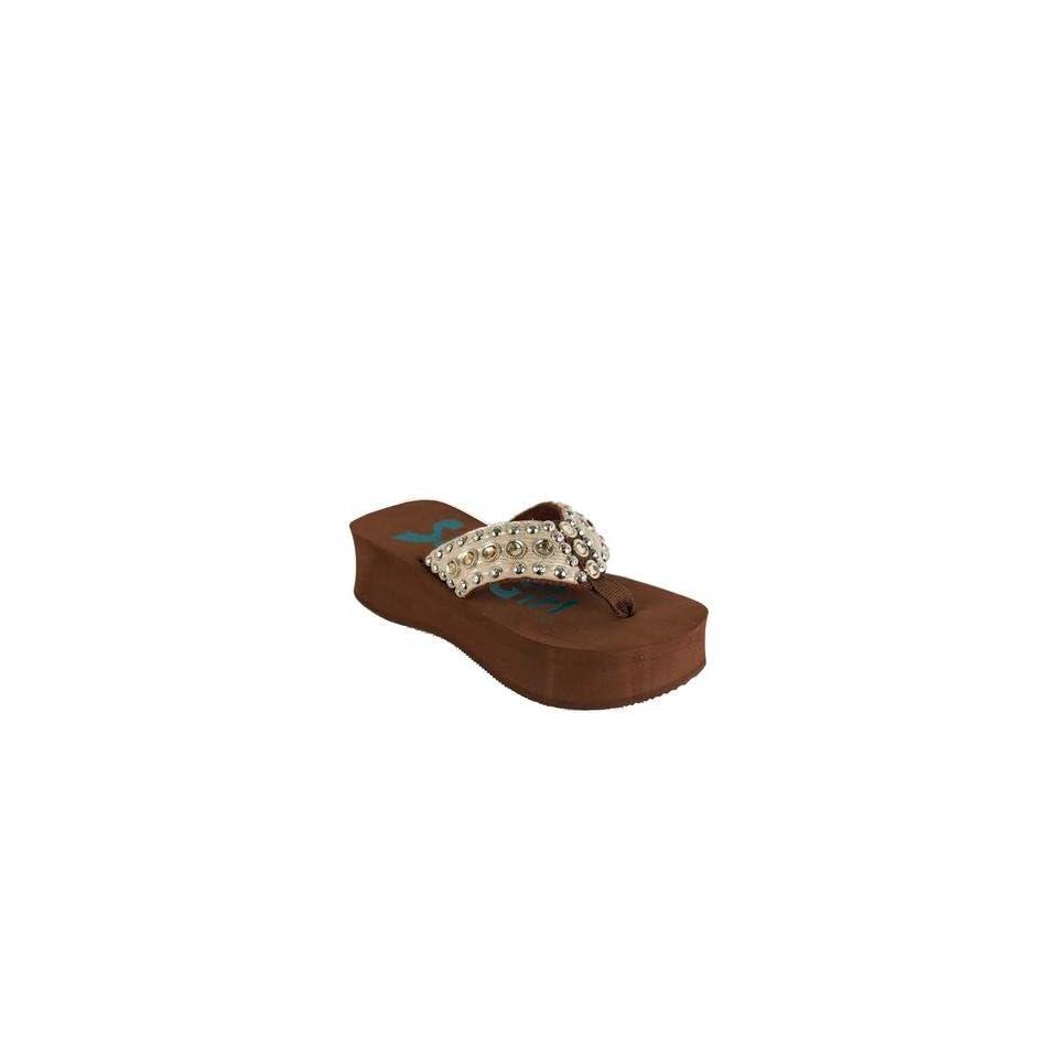 Safari Girl Flip Flops SG410 Animal Print Hides, Center Sunburst, Three Rows of Multi Stones, Black High Heel Base