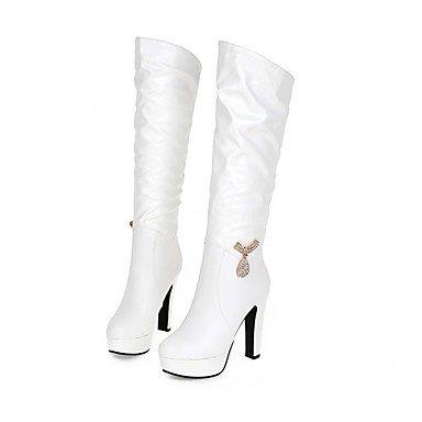 Personalizados Materiales Mujer Botas US8 Montar Calf Polipiel Puntera Zapatos Chunky EU39 CN40 RTRY UK6 De Botas 5 Otoño Moda Mid Talón Botas Redonda De 5 Botas Invierno qO1IEt