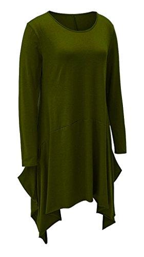 Manche Vert Coton Soire Casual Cocktail Col de Pull Femme Bigood Longue Robes Robe Rond Automne qTBABX