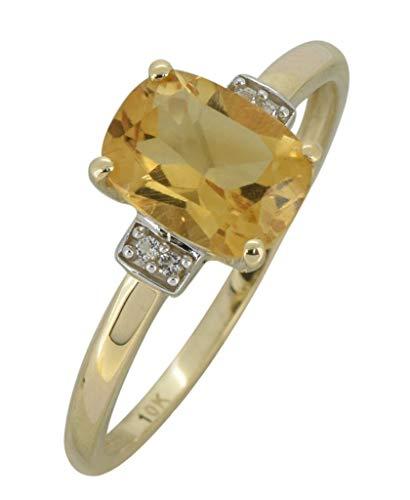 (YoTreasure 1.40 Ct. Yellow Citrine Solid 10K Yellow Gold Gemstone Princess Ring)