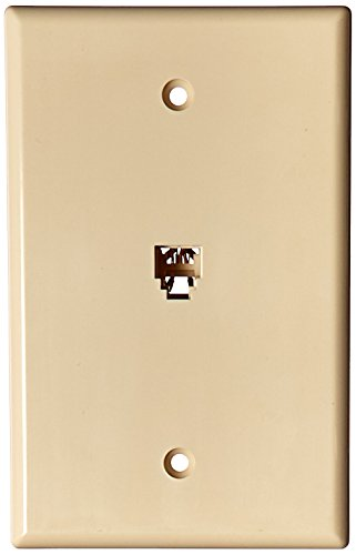 Morris 87013 Midsize Single RJ11 4 Conductor Phone Jack Wall Plate, Almond