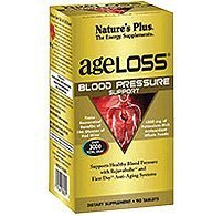 Natures Plus AgeLoss Blood Pressure Support - 90 Vegetarian Tablets - Natural Blood Pressure Supplement with Trans Resveratrol, Antioxidant - Gluten Free - 30 Servings