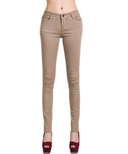Juniors DELEY Jegging Kaki Femmes Solides Pantalon Fit Jeans Stretch Basic Leg Skinny pqCfwxpZ8