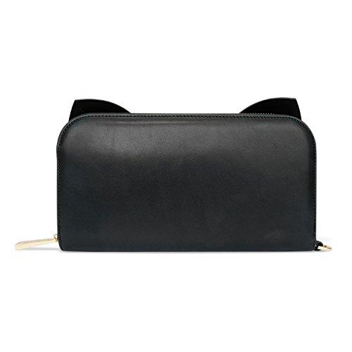 Sienna Jones svart smal marina läder rosett handväska