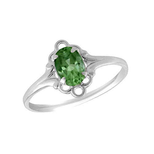 Sterling Silver Oval Shape Simulated May Birthstone Ring For Girls (size 4)