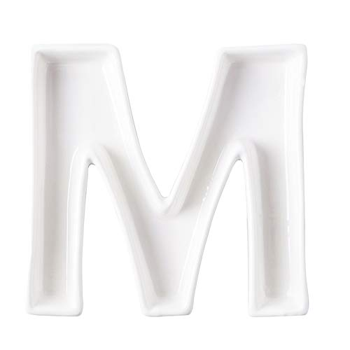 (Coffeezone Ceramic Letter Dish & Plates for Candy / Nuts Ideas, Wedding Party Decor (Letter M))