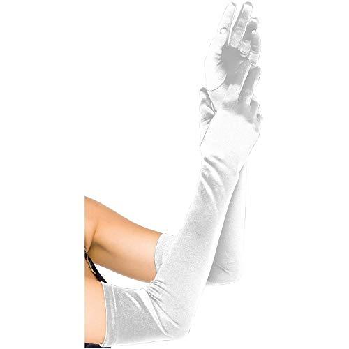 (DeemoShop Long Party Bridal Dance Gloves Opera White/Black/White Finger Wedding Gloves Satin)