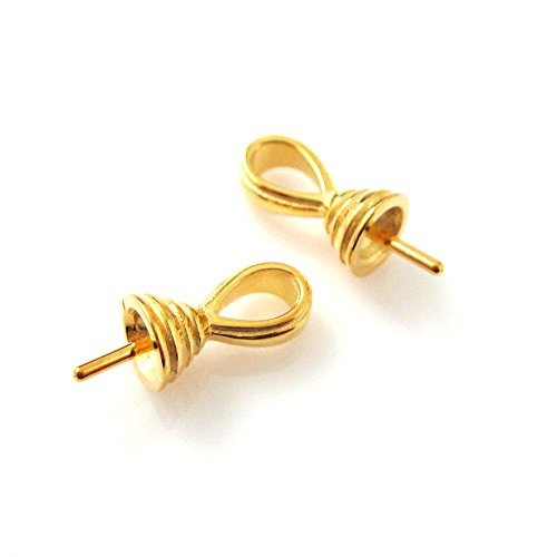 Vermeil,22k Gold plated,925 Sterling Silver,Fancy Bead caps,Bead cap with post (2 - Post Vermeil