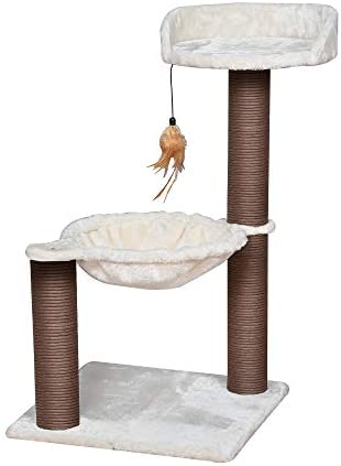 Catry, Cat Tree Hammock Bed with Natural Sisal Scratching Posts and Teasing Feather for Kitten Version 2