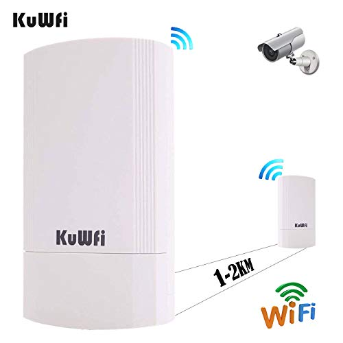 KuWFi Outdoor AP, 2-Pack 450Mbps Long Range Wireless CPE Bridge Point to Point Indoor&Outdoor CPE Kit Support 1-2KM 5.8G Anti-Interference for PTP/PTMP (Pre-Program WDS) (Vpn Bridge)