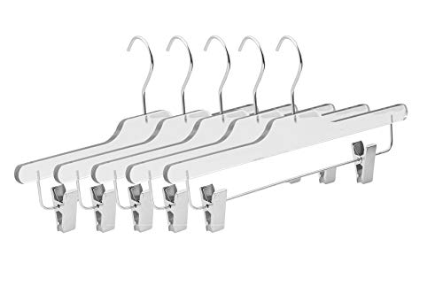 Lucite Clip - Quality Acrylic Clear Skirt Slack Hangers, Made of Clear Acrylic for a Luxurious Look and Feel with Swivel Hook and Clips - 5 Pack (Pants)