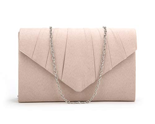 Nodykka Women Evening Envelope Velvet Handbag Party Bridal Clutch Purse (Velvet Beige) (Evening Clutch Purse Wedding)